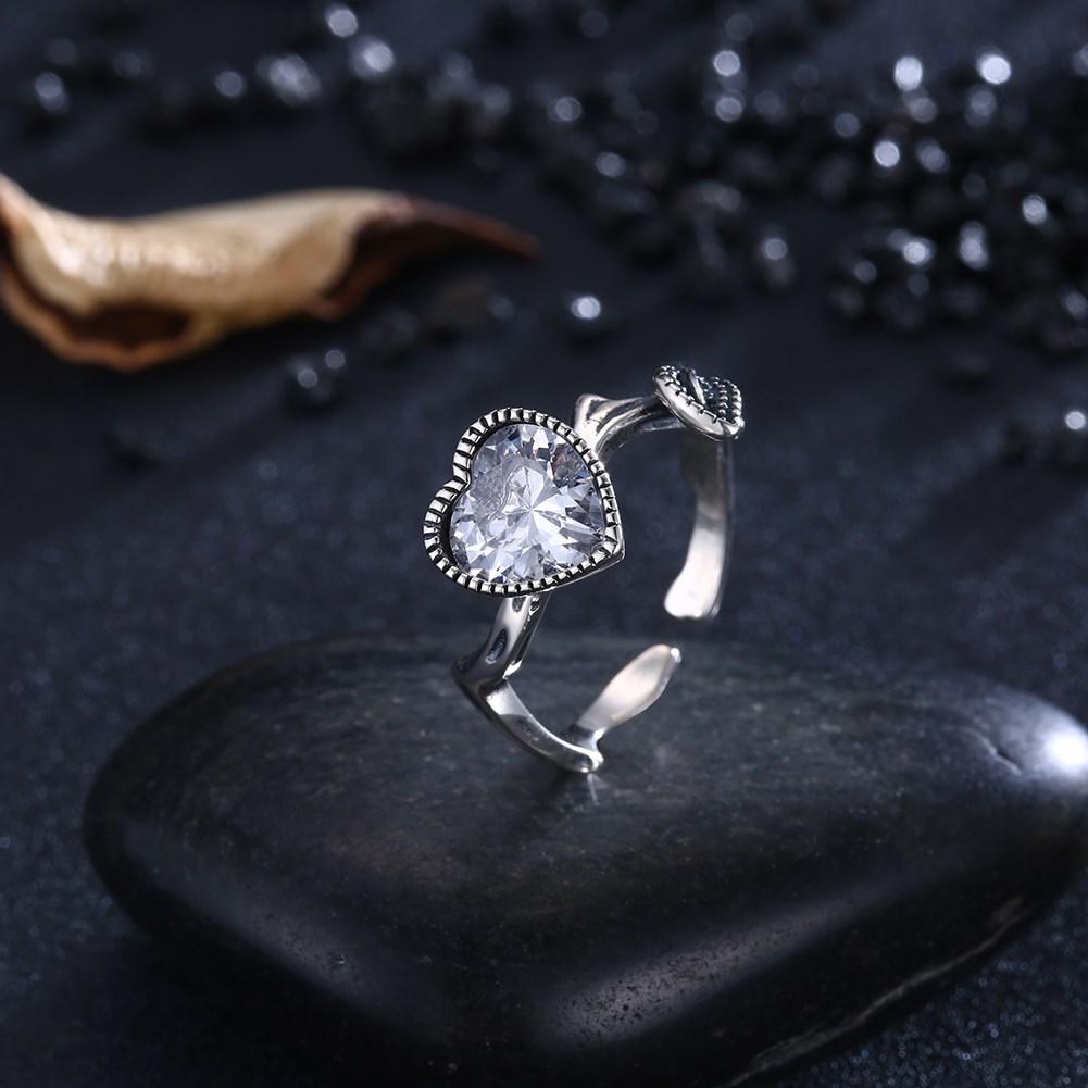 Hemiston Luxury Antique 100% 925 Sterling Silver Vintage Heart White Zircon Rings for Women Jewelry SVR271