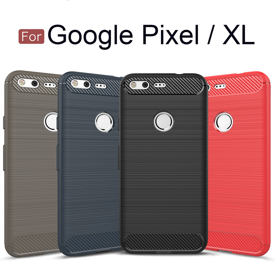 Case For Google Pixel XL 3 2 2XL Soft Back Phone Cover Silicone TPU Brushed Carbon Fiber Texture Protective Luxury Pixel2 Pixel3