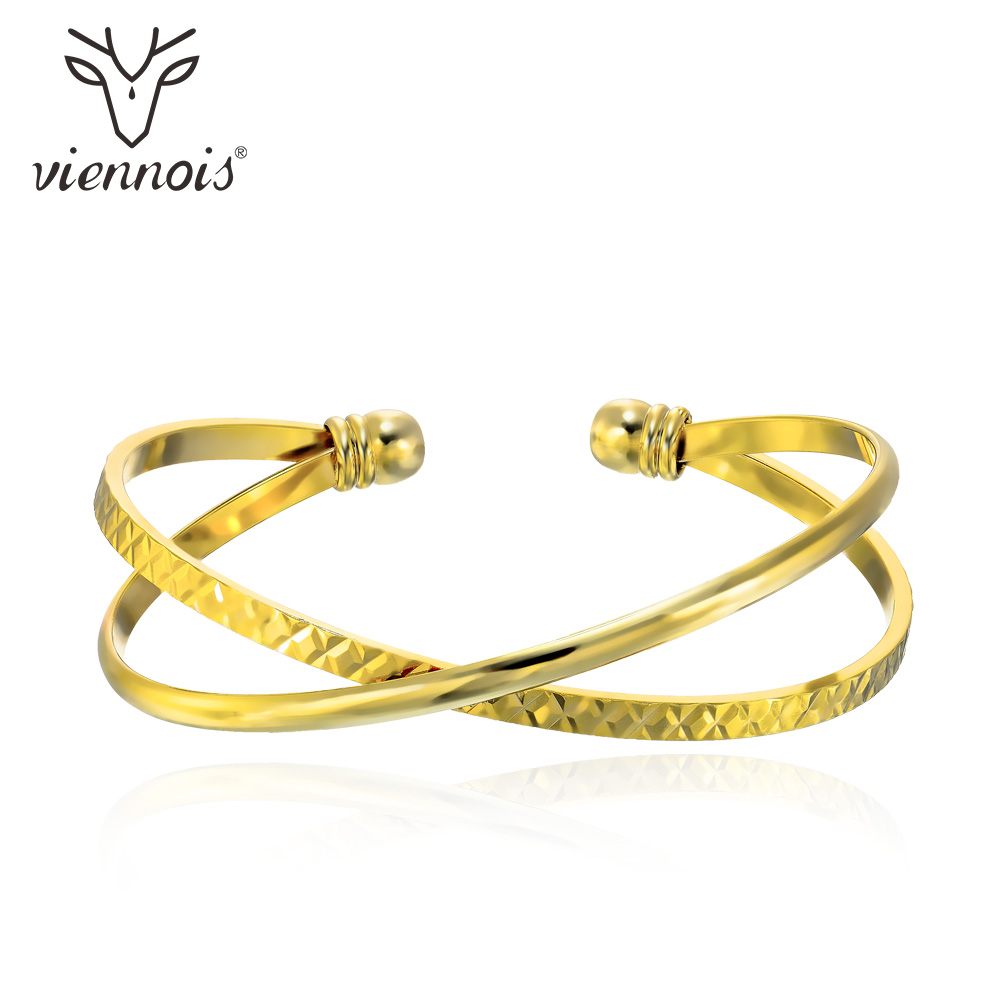 Viennois Bangle Twisted-Bracelets Cross-Cuff Fashion Jewelry Women Cold-Color