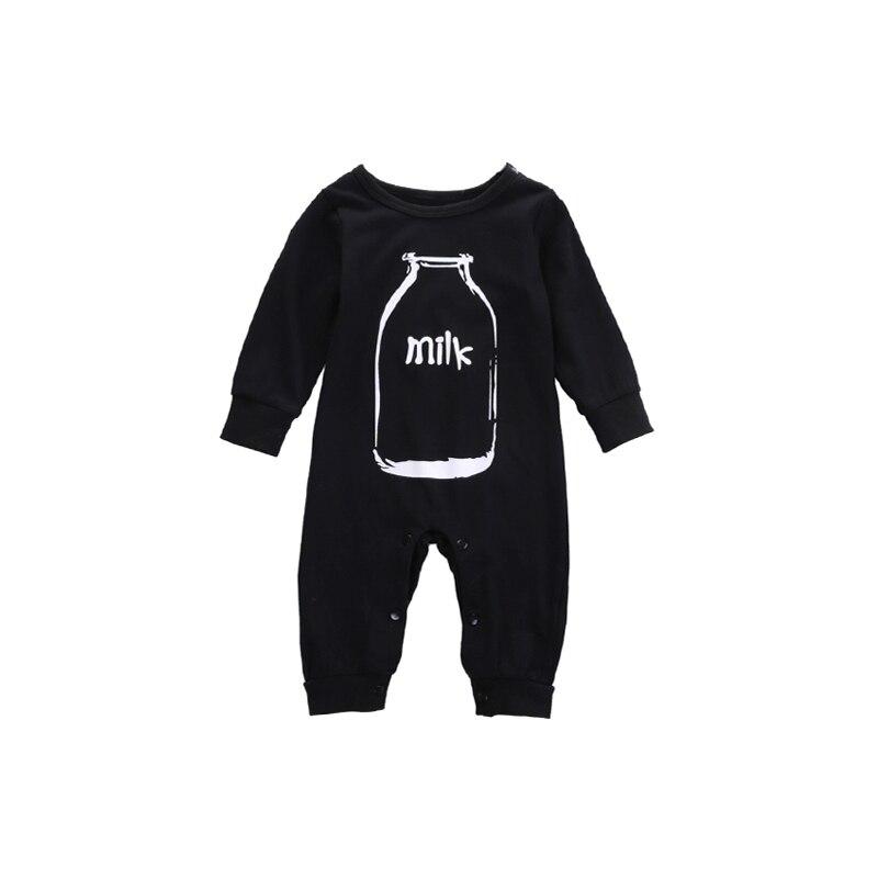 купить 2017 Newborn Infant Baby Girls Boys Spring Fall Winter 0-24M Long Sleeve O-Neck Covered Button Milk Cartoon Print Black Romper по цене 276.25 рублей