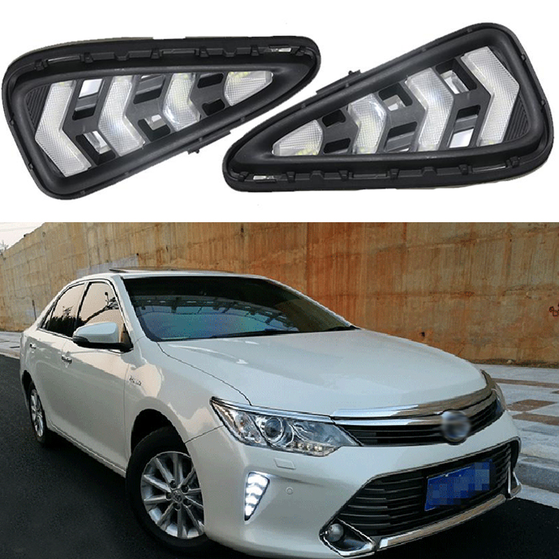 2PCS Car Accessories LED Daytime Running Light For Toyota Camry 2015 2016 DRL Cover Fog Lamp