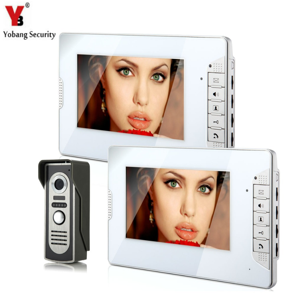 YobangSecurity Video Intercom Monitor 7 Door Phone Home Security Color Wire 1 Camera 2 Monitor for House/Office/apartment/Hotel video intercom monitor 7 door phone home security color tft lcd hd wired 1 camera 2 monitor for house office apartment hotel