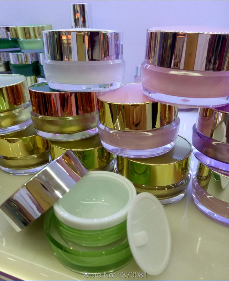 10pcs High Quality 5g,10g,15g,20g,30g,50g,Gold/White/Pink/Green Acrylic Cream Jar Empty Cosmetic Packing Container Free Shipping high quality pearl white acrylic cream jar gold cap empty cosmetic container jar lotion pump bottle 30g 50g 30ml 50ml 120ml