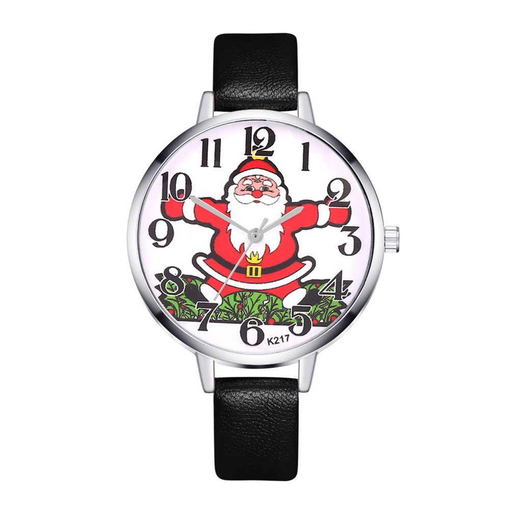 Fashion Luxury Quartz Watches Cheap Women Music Sport Military Steel Dial Leather Band Wrist Watch Christmas Snowman GIFTS