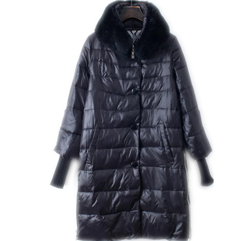 2018 New Winter Women Down Cotton Medium-Long Jacket   Parka   Famale Fur Collar Size S-2XL Thicken Loose Knit Sleeve Warm CoatCQ707