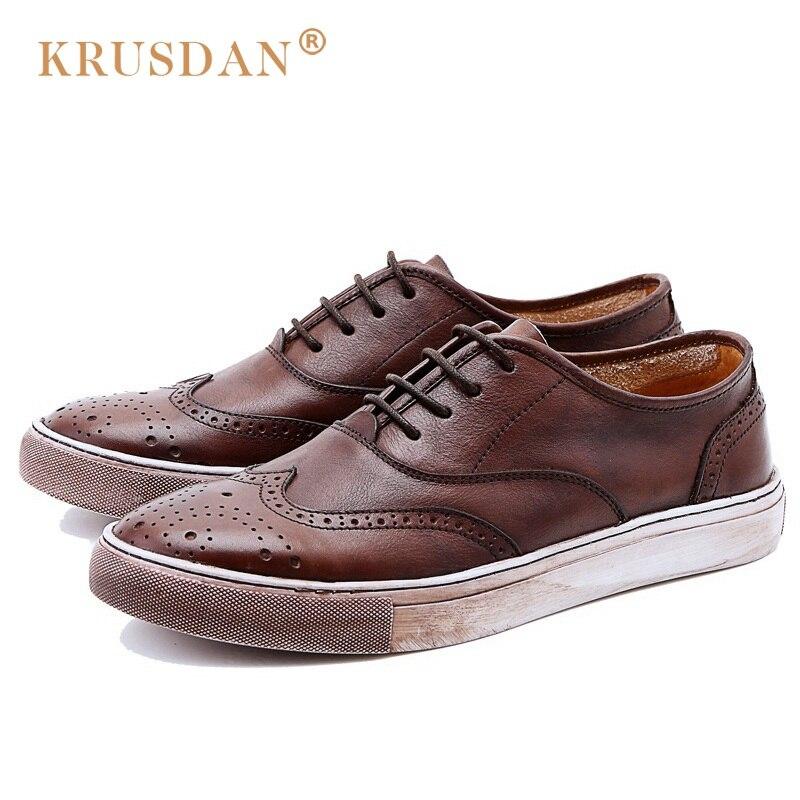 KRUSDAN New British Style Flat Platform Man Brogue Shoes Vintage Genuine Leather Oxfords Round Toe Men's Handmade Footwear NK74