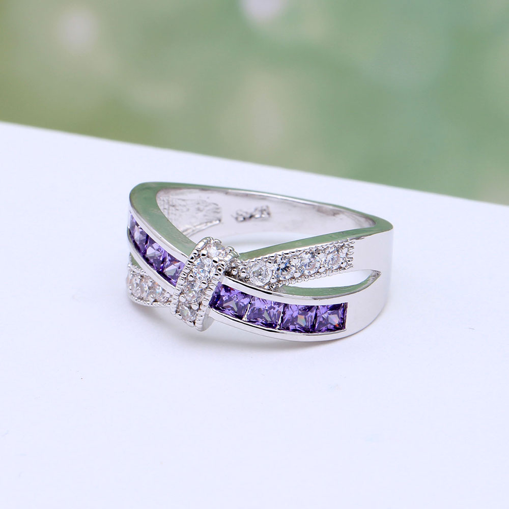 Amethyst Cross Finger Paved Zircon Wedding Engagement Ring 1
