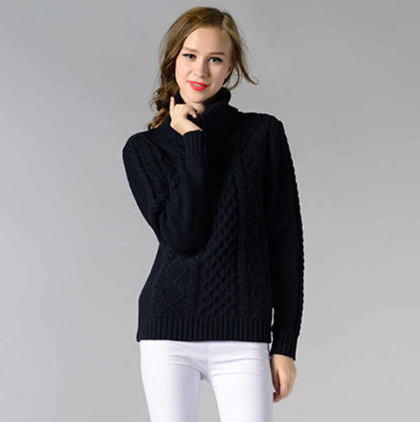Women Autumn 2017 Long Sleeve Women's Turtleneck Mulheres Sweaters And Pulloveres Women's Knitted Sweaters Black/White Q232
