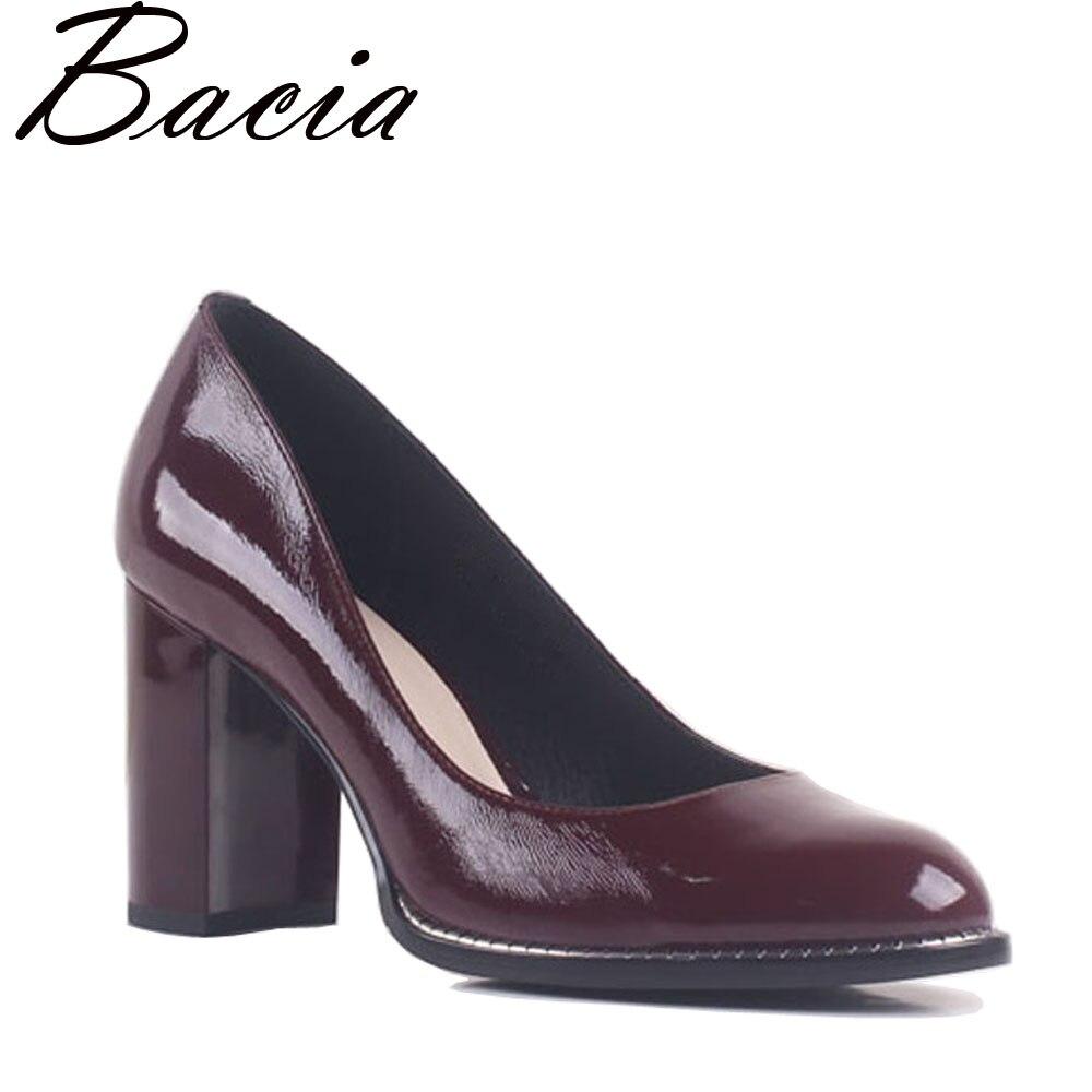 Bacia/натуральная кожа вина красные туфли-лодочки круглый носок толстый каблук 8,4 см квадратный каблук из натуральной кожи элегантные офисные...