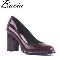 Bacia Natural Leather Wine Red Pumps Round Toe Thick Heel 8 4cm Square Heels Genuine Leather