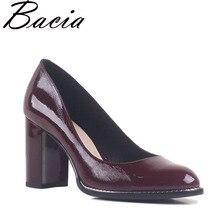 Bacia/натуральная кожа цвет красного вина Насосы круглый носок толстый каблук 8.4 см квадратный каблук Пояса из натуральной кожи элегантные офисные туфли SB015