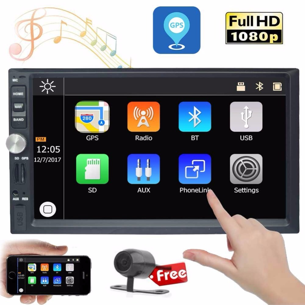 "7/"" Car Head Unit Double 2DIN MP3 Player Bluetooth Stereo Radio FM USB Aux Camera"