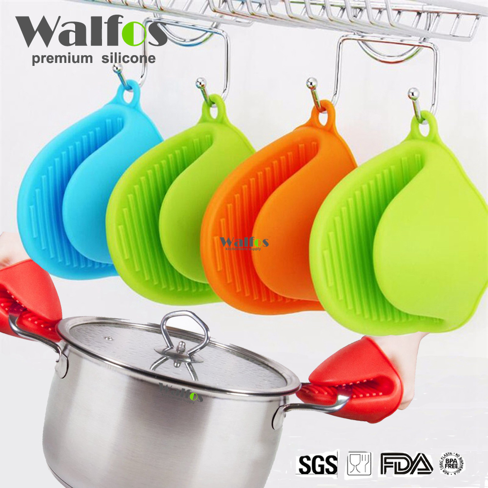 WALFOS Heat Resistant Grips Skid Silicone Pot Holder 1 piece Silicone Oven Mitt Cooking Pinch Grips Skid Silicone Pot Holder in Oven Mitts Oven Sleeves from Home Garden