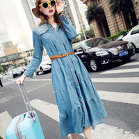 Free Shipping New Arrival Spring Fashion Bohemian Dress For Women Vintage Pleated Jeans Shirt Long Sleeve