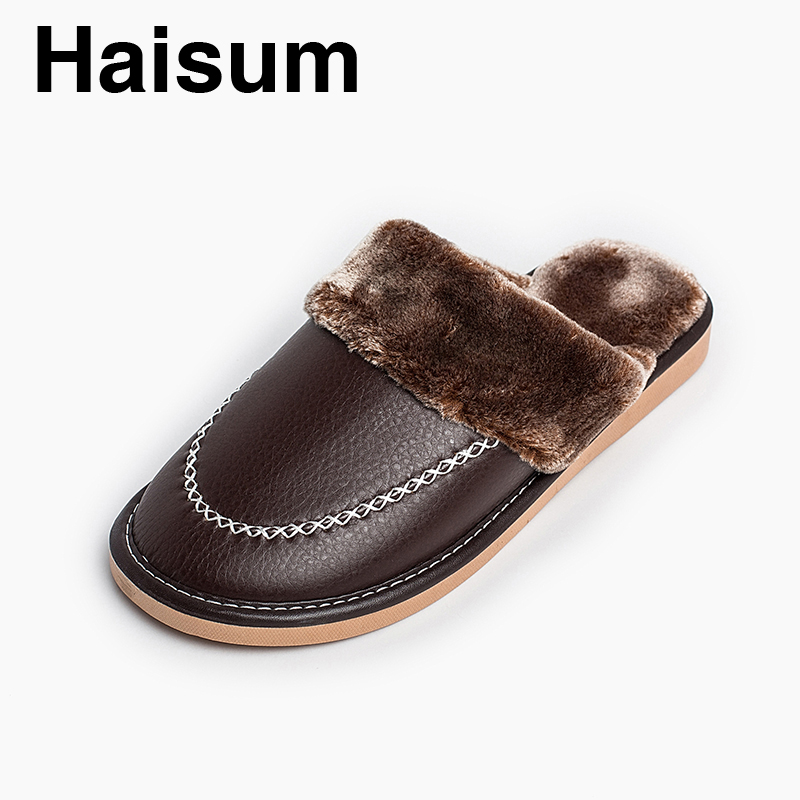 Men 's Slippers Winter Pu Leather Home Indoor Non - Slip Thermal Slippers 2018 New Hot Haisum Tb011 plush home slippers women winter indoor shoes couple slippers men waterproof home interior non slip warmth month pu leather