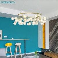 Nordic chandelier led living room dining room chandelier post modern minimalist creative tree firefly bedroom glass chandelier