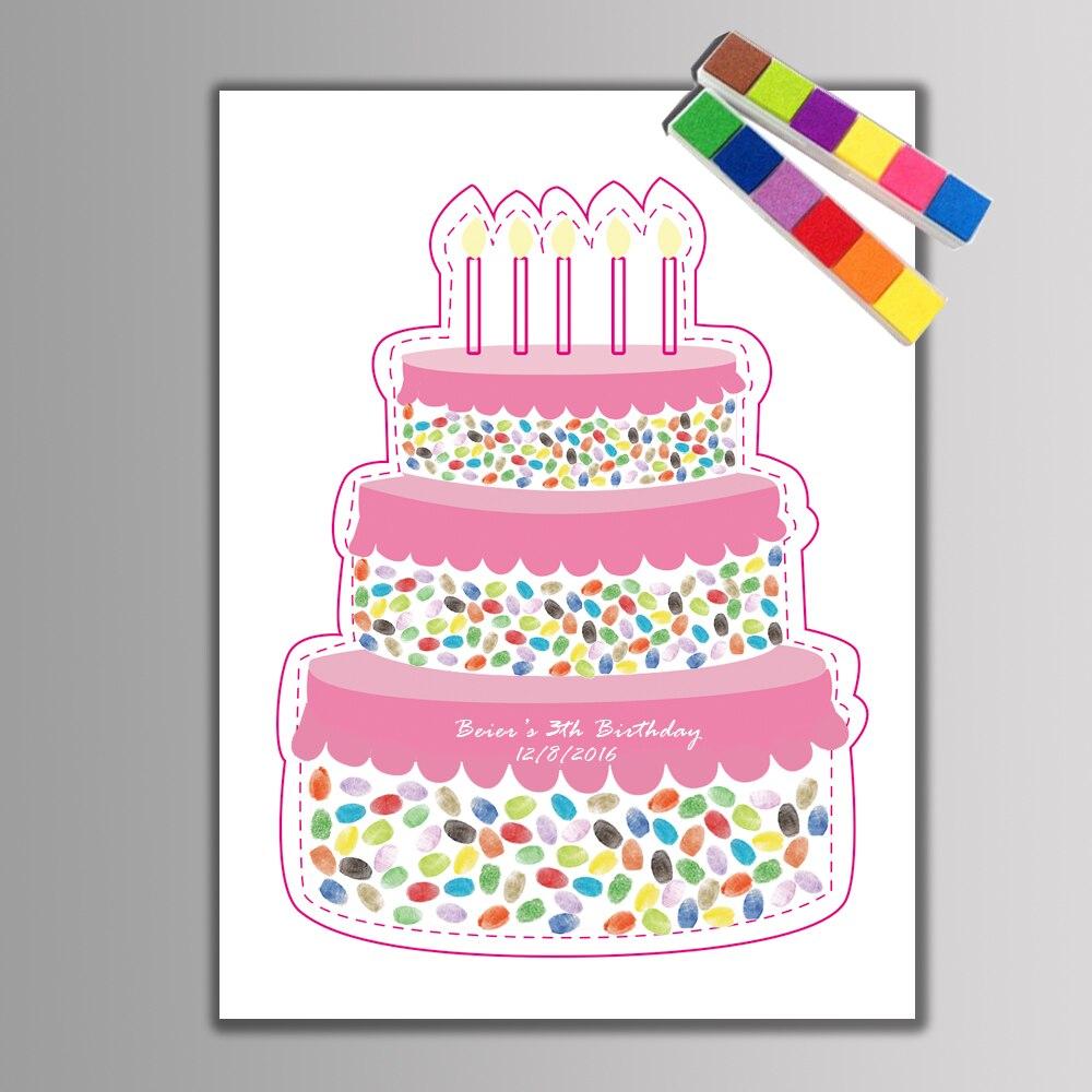 1 Set Creative Birthday Cake Fingerprint DIY Guest Book