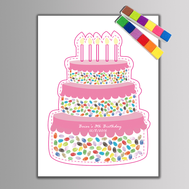 1 Set Creative Birthday Cake Fingerprint Diy Guest Book For Baby