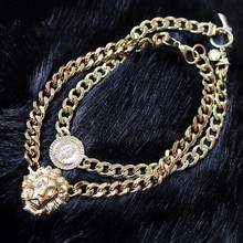 Fashion Women Golden Chain Statement Choker Chunky Lion Head Pendant Necklace Club Party Gift Jason0415