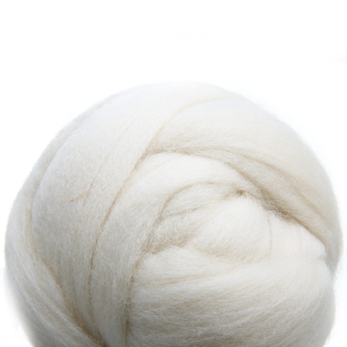 100g Cream White Wool Fiber Needle Felting Wool Tops Roving Spinning Weaving For Handmade DIY Craft Doll Felting Wool