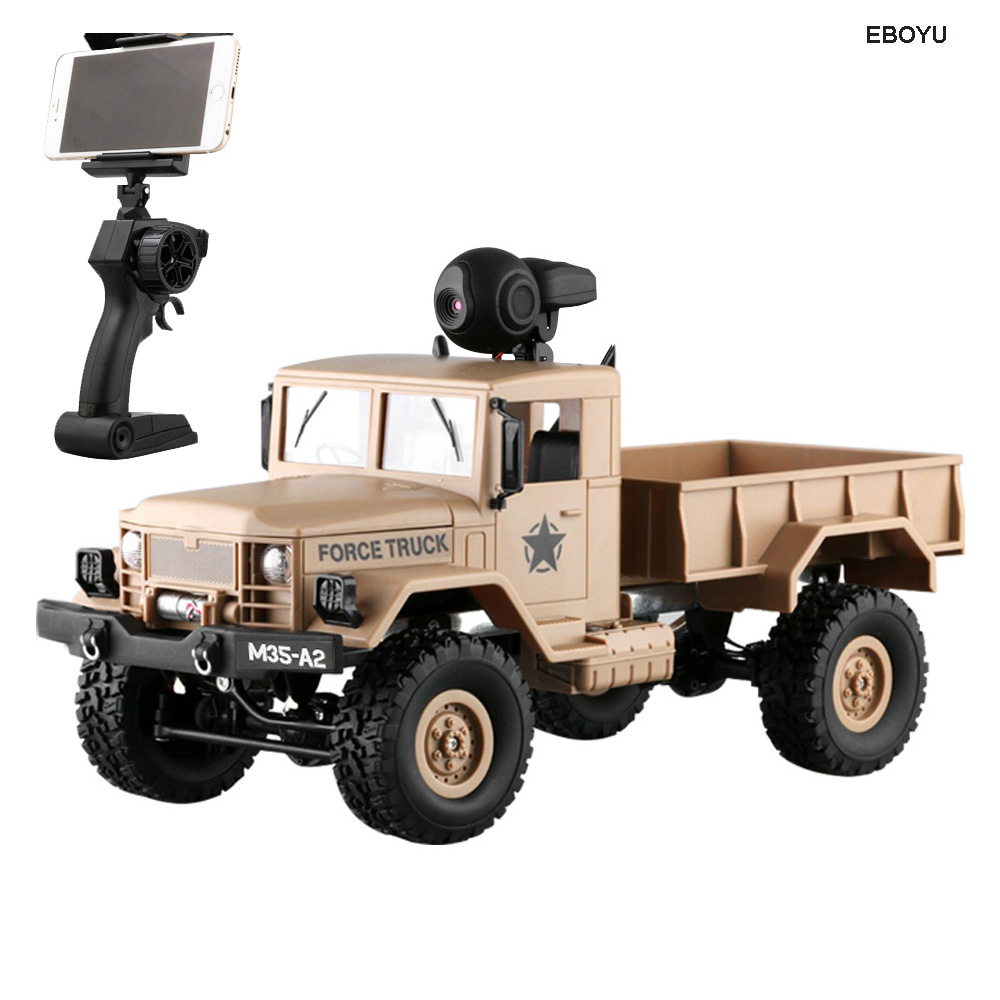 EBOYU FY001A WiFi Truck 2.4Ghz 1/16 4WD Off-road RC Truck with Front Light WiFi FPV 0.3MP Camera Brushed Military Truck RTR
