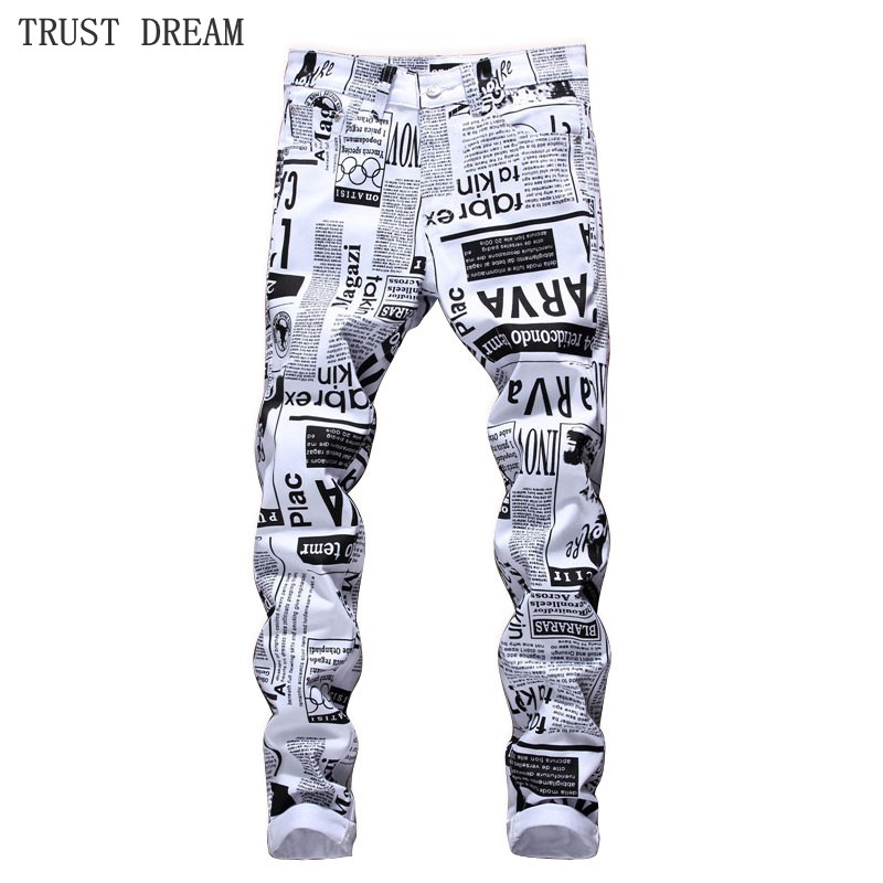 2018 New Europeans Style Men Floral Slim Jeans White Print Post Page Designed Man Street Club Personal Jeans Real Pictures