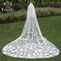 Elegant 3M 2T White/Ivory Cathedral Wedding Veil With Comb Long Lace Edge Bridal Veil 2017 Wedding Accessories In Stock WB35