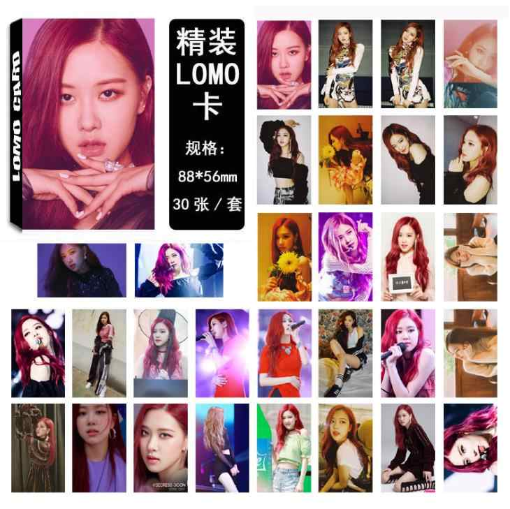 30 Pcs/pack Fashion KPOP BLACKPINK SQUARE UP Album LOMO Cards LISA ROSE  Jennie Jisoo Self Made Paper HD Photocards Stationery