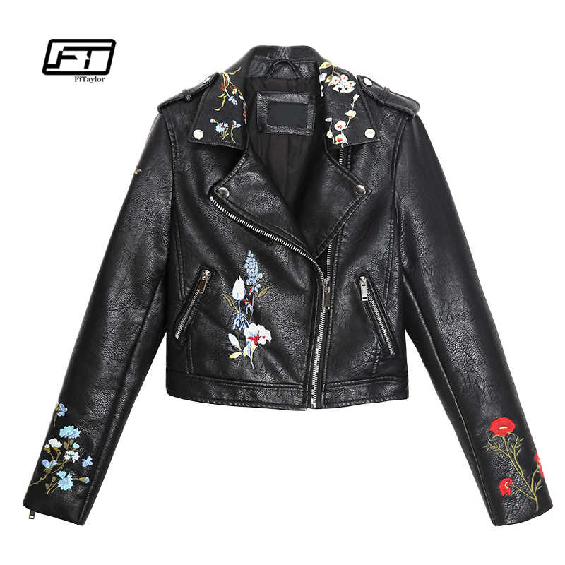 6506f7dd8 Fitaylor New Autumn Women Embroidery Leather Jacket Faux PU Leahter ...