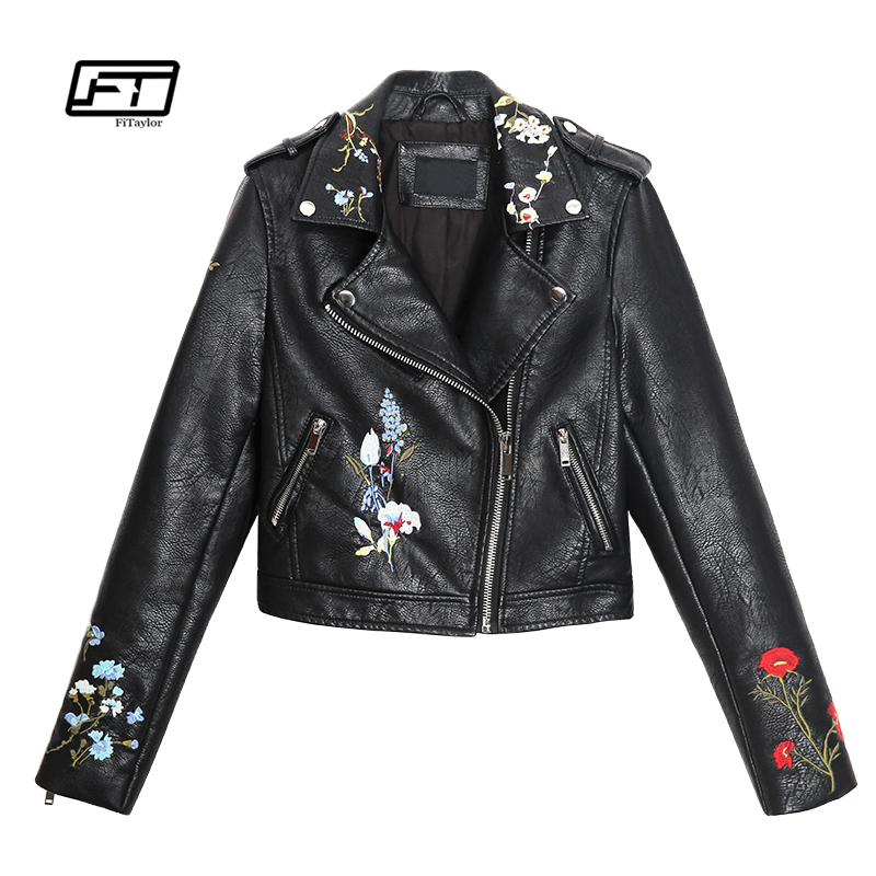 Fitaylor New Autumn Women Embroidery   Leather   Jacket Faux PU Leahter Punk Jackets Slim Biker Coat Floral Print Slim Coat