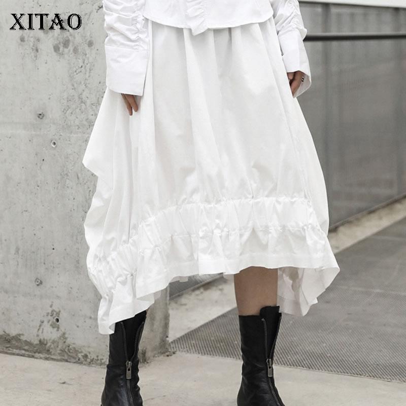 XITAO Asymmetrical Female Skirt 2019 Korea Fashion Spring Summer New Solid Color Ruffles Pleated Mid