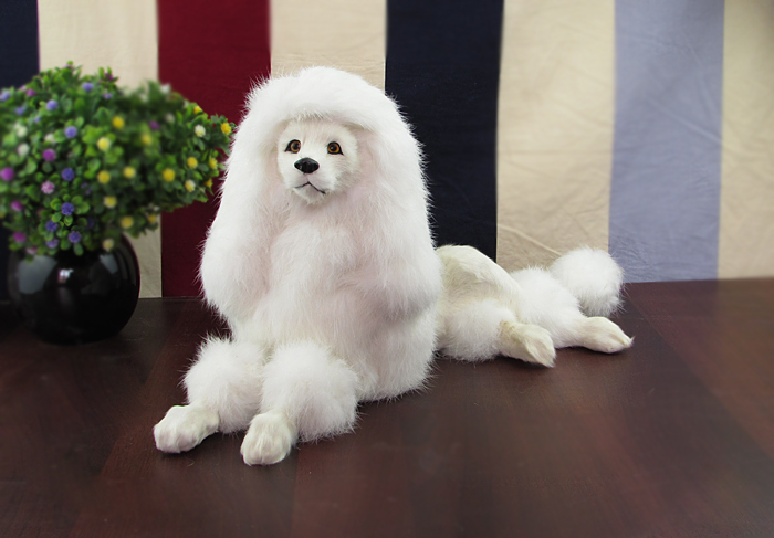 simulation dog poodle toy model prone pose 40x15x21cm, plastic&fur white poodle handicraft,home decoration toy gift w5872 large 21x27 cm simulation sleeping cat model toy lifelike prone cat model home decoration gift t173