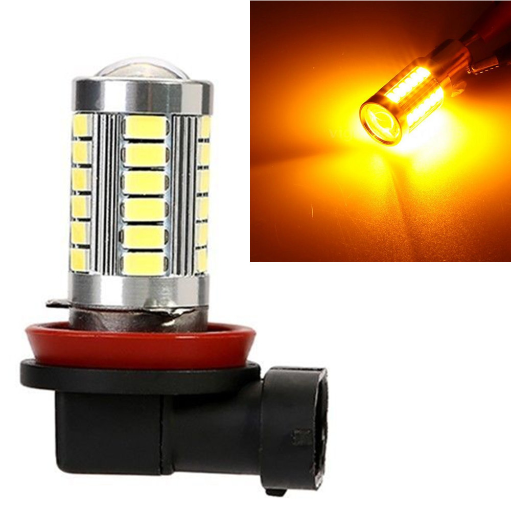12V DC H11 H8 H9 LED Light Bulb 5630 5730 33 SMD 33SMD Fog Driving DRL Lamp Amber Orange Yellow