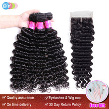 BY Hair Deep Wave Bundles With Closure Human Hair Malaysian Hair Weave 3 Bundles With Closure Remy Hair Extension(China)