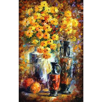 Modern art Flowers greek vases Palette knife oil painting Still life on canvas High quality Handmade home decor