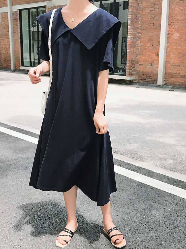 SuperAen модное женское платье свободного большого размера 2019 Лето Новое Женское платье с коротким рукавом однотонное хлопковое повседневное женское платье