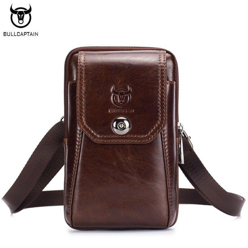 BULLCAPTAIN Men Bag Messenger-Bag Small Genuine-Leather Multifunctional Vintage Waist-Bag