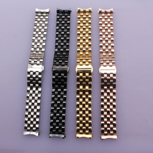 Homens de aço inoxidável watch band 18mm 20mm 22mm 24mm acessórios cinta de Prata Black Gold Rosegold MODA extremidade curva pulseira hot