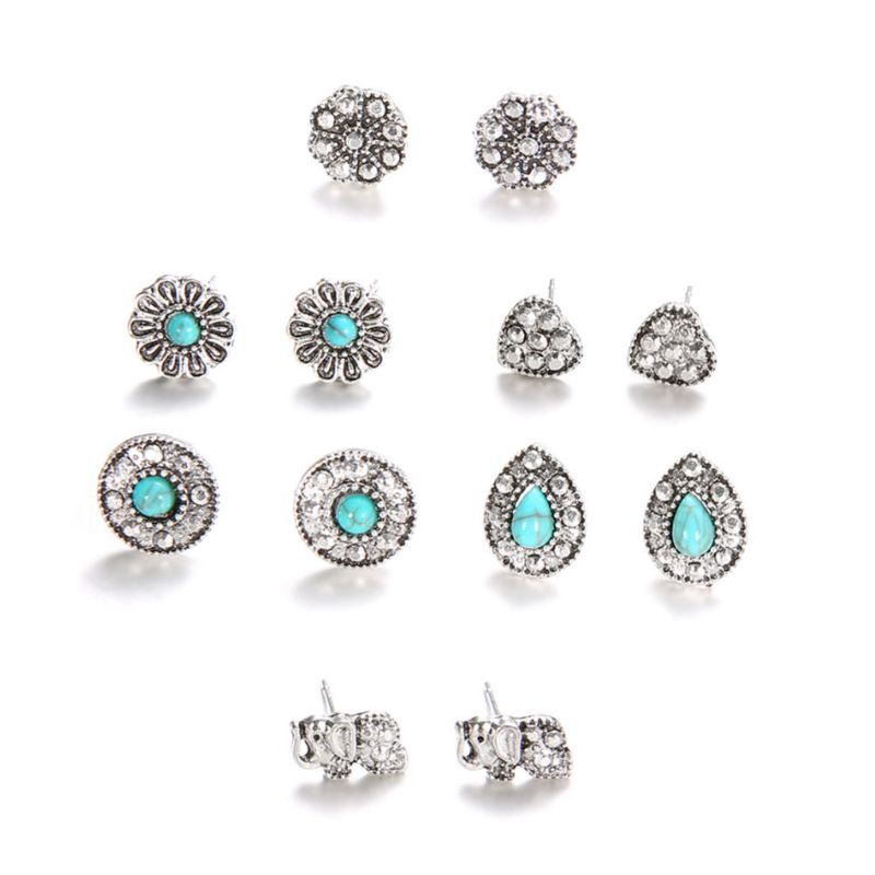 6Pairs Bohemia Woman's Ear Stud Vintage Floral Stone Jewelry Retro Ornaments Hollow Design Christmas Gifts Exquisite Earrings