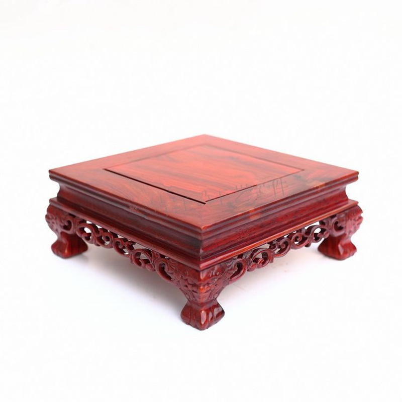 Red wingceltis square base solid wood real wood household act the role ofing is tasted of Buddha vase flowerpot crafts sending rope rooster mascot guard natural obsidian statue of the buddha real life