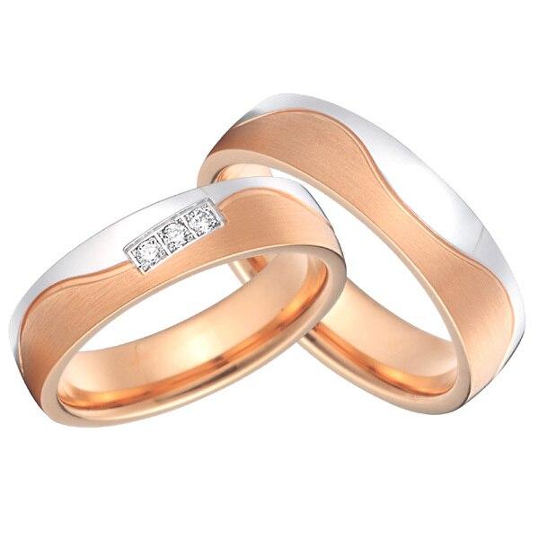 2015 nuevo diseño hermoso privado color oro rosa alianzas anillo de promesa para parejas conjuntos para aniversario de boda - 3