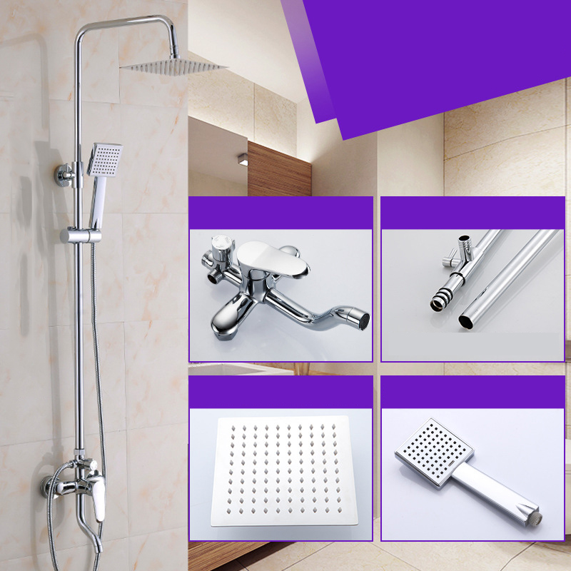 New Modern Chrome Finished Rain Shower Set Faucet Brass Material Chrome Mixer Tap Wall Mounted poiqihy chrome rain