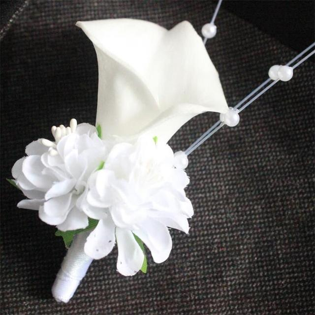 White Calla Lily Flower Pearls Corsage Groom Groomsman Wedding Party Man Suit Men Boutonniere Prom Pin