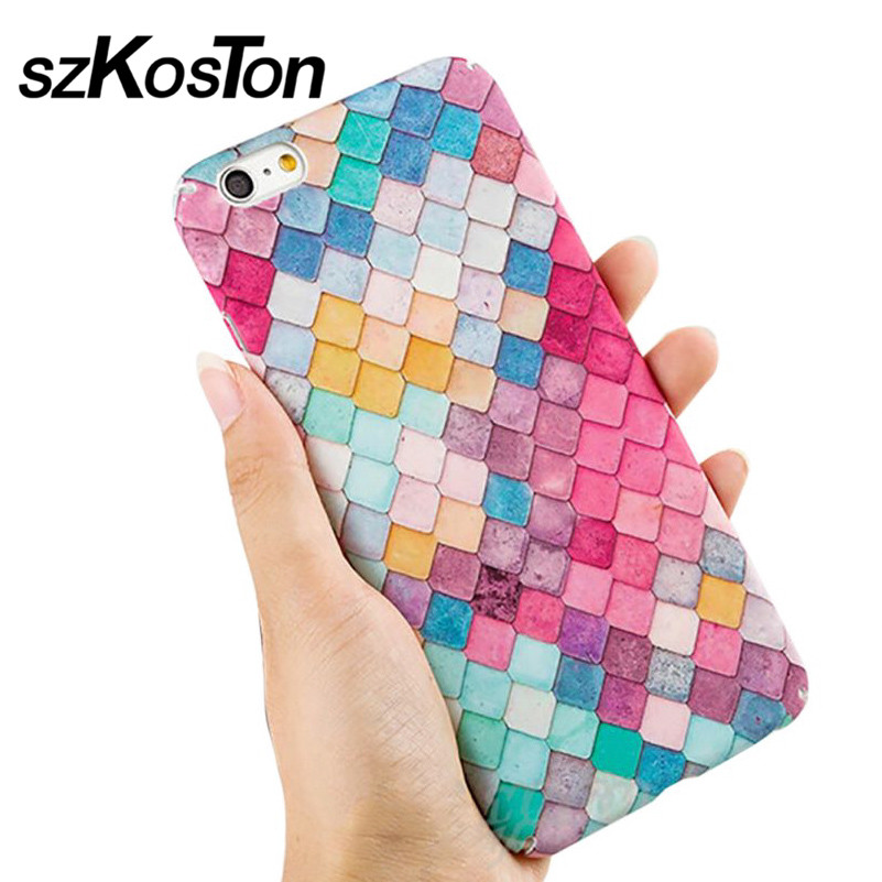 For <font><b>Apple</b></font> iPhone 7 <font><b>7S</b></font> Plus Case Original Luxury Quality Hard PC Colorful Fish Scales Cover Protect <font><b>Phone</b></font> Cases For iPhone 6 6S
