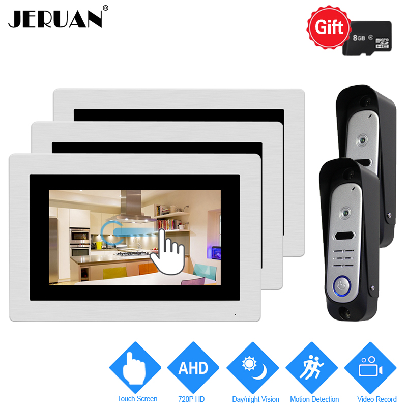 JERUAN 7`` Touch Screen Video Door Phone Intercom System 720P AHD HD Motion Detection 3 Record Monitor+2 Waterproof Camera 2V3 jeruan home 7 video door phone intercom system kit rfid waterproof touch key password keypad camera remote control in stock