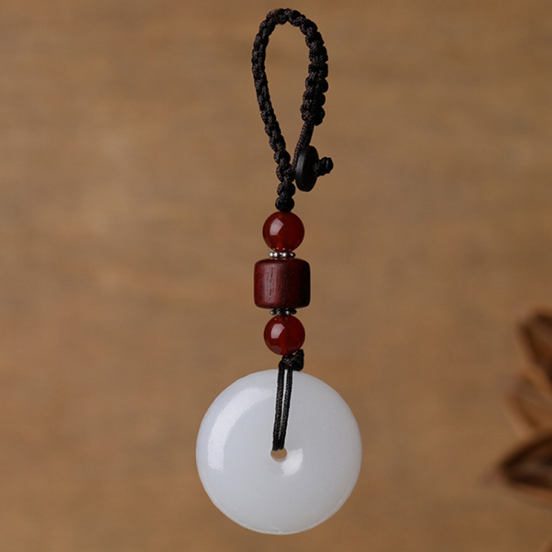 Drop Shipping Men's Key Chain Natural White Afghanistan Jade Key chain Gift for Women's