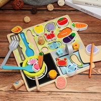 house kitchen Wooden magnetic children's cut fruit toys girl baby wooden kitchen toys food toy cutting set barbecue set