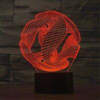 Prachtige Abstractie 7 Acryl USB Led Nachtlampje Touch Schakelaar Nachtlampje Kleurrijke Sfeer Slaapkamer lamp als Creative Gift