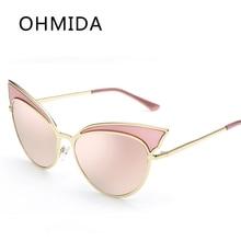 OHMIDA Nueva Moda Cateye gafas de Sol Mujeres Espejo Gafas de Sol de Las Señoras de La Vendimia de la Marca gafas de Sol Con Caja de Gafas de Sol Hombre Marca