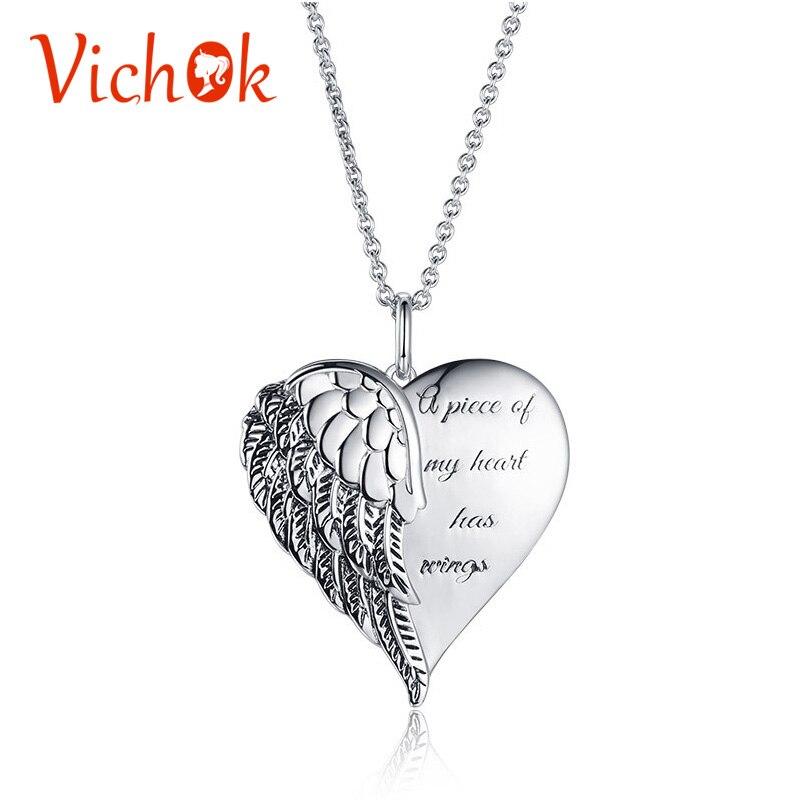 VICHOK ange ailes coeur collier & pendentif argent 925 Sterling chaîne collier Colar bijoux fins pour les femmes 3 Styles kolye